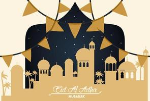 carte de célébration eid al adha avec paysage urbain arabe et guirlandes vecteur