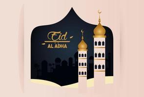 carte de célébration eid al adha avec tours de mosquée vecteur