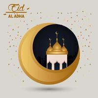 carte de célébration eid al adha avec cupule lune et mosquée vecteur