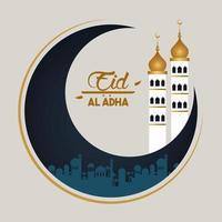 carte de célébration eid al adha avec tour de lune et mosquée vecteur