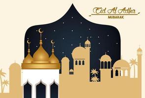 carte de célébration eid al adha avec paysage urbain arabe vecteur