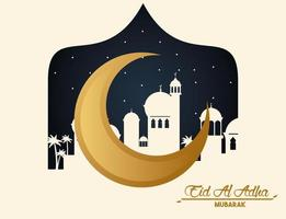 carte de célébration eid al adha avec lune et paysage urbain vecteur