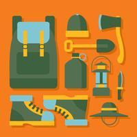 Vecteur d'angle Knolling fournitures de camping