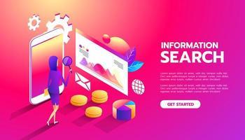 recherche d'information. analyse Web. femme d'affaires interagit avec des parties de l'interface. femmes étudie et analyse l'interface de l'application Web mobile vecteur