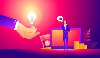 assistant en ligne au travail. manager au travail à distance, à la recherche de nouvelles idées et solutions. travailler ensemble dans l'entreprise. vecteur