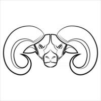 dessin au trait noir et blanc de la tête de mouton grande corne bon usage pour symbole mascotte icône avatar tatouage t-shirt design logo ou tout design vecteur