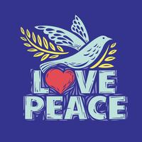Colombe de paix et d'amour lettrage vecteur