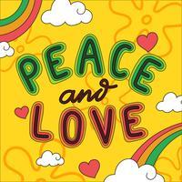 Peace And Love Lettrage Vecteur