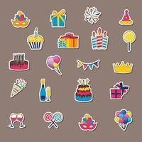 icônes d'autocollant joyeux anniversaire. définir la conception d & # 39; icônes pour votre produit vecteur