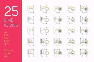ensemble d'icônes linéaires couleur documents et fichiers vecteur