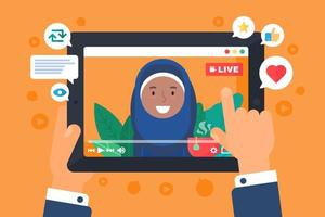 illustration de concept de streamer web féminin arabe vecteur