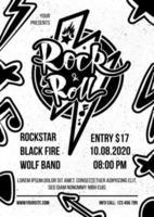 vecteur d'affiche monochrome publicitaire rock and roll