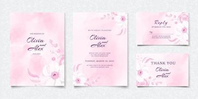ensemble de carte d & # 39; invitation de mariage floral rose aquarelle vecteur