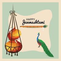 illustration vectorielle d & # 39; un fond pour le festival indien de joyeux janmashtami vecteur