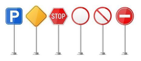 modèle de réglementation du trafic de panneau d'avertissement routier vecteur
