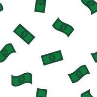 billets d'un dollar vert modèle sans couture d'argent vecteur
