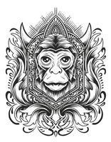 illustration tête de singe avec ornement de gravure vecteur