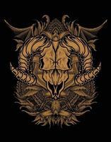 illustration crâne de chèvre avec géométrie sacrée vecteur