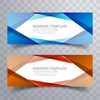 Modèle de conception de jeu de bannières colorées vague abstraite vecteur