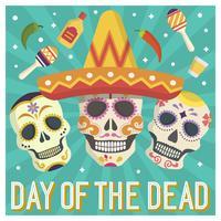 Jour plat du crâne de sucre mort Illustration vectorielle Calavera