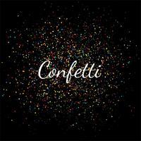 Célébration de beaux confettis colorés sur fond noir vecteur