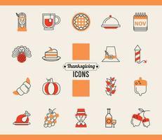 lot de dix-huit icônes de jeu de jour de Thanksgiving vecteur