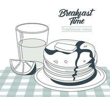 lettrage de l'heure du petit déjeuner dans une affiche de cadre circulaire avec du jus d'orange et des crêpes dans la table vecteur