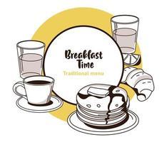 lettrage de l'heure du petit déjeuner dans une affiche de cadre circulaire avec des crêpes et des boissons vecteur