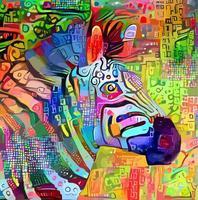 peinture de portrait impressionniste abstrait zèbre vecteur