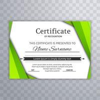 Certificat vert abstrait avec le vecteur de fond vague