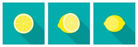 icône de citron avec ensemble de collection grandissime vecteur