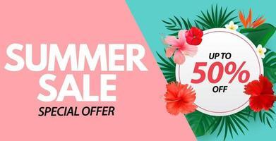 affiche de vente d'été fond naturel avec palmier tropical et feuilles de monstera fleur exotique vecteur