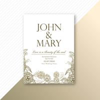 Conception de modèle de carte d'invitation de mariage décoratif floral vecteur