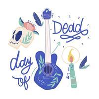 Guitare mexicaine mignonne, tête de mort en sucre, bougie et lettrage vecteur