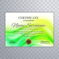 Beau vecteur vert modèle de conception de certificat
