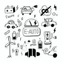 e voiture doodle set énergie verte et e auto croquis écologie transport propre auto co2 neutre rechargeable voiture émissions co2 vector collection