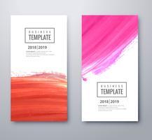 Modèle de belle entreprise coloré sertie de dessin aquarelle