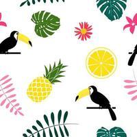 Fruits tropiques ananas toucan oiseau et feuille de palmier design de fond transparente vecteur