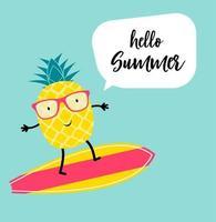 bonjour ananas d'été dans des lunettes de soleil vecteur
