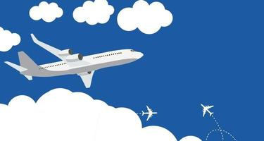 icône d & # 39; avion plat sur fond bleu vecteur