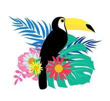 Oiseau toucan avec des feuilles de palmier sur fond blanc vecteur