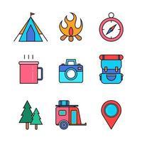 jeu d'icônes du pack de démarrage de camp d'été vecteur