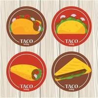 Affiche mexicaine de célébration de jour de taco avec menu de tacos en fond de bois vecteur