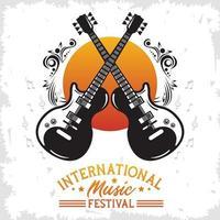 affiche du festival international de musique avec guitares électriques et lettrage vecteur