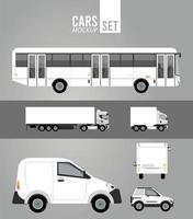 icônes de véhicules de voitures de groupe de maquette de couleur blanche vecteur
