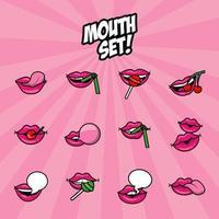 ensemble de douze bouches pop art remplissent des icônes de style vecteur