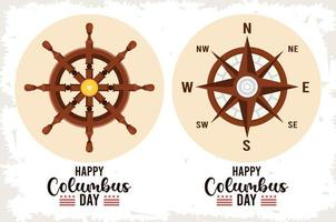 joyeuse fête de columbus day avec gouvernail de bateau et guide de la boussole vecteur
