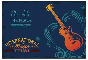 affiche du festival de musique international avec guitare électrique et lettrage vecteur