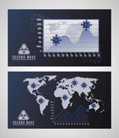 affiche de deuxième vague de la pandémie de virus covid19 avec cartes et statistiques des continents vecteur