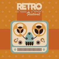 affiche de lettrage festival rétro avec vidéoprojecteur vecteur